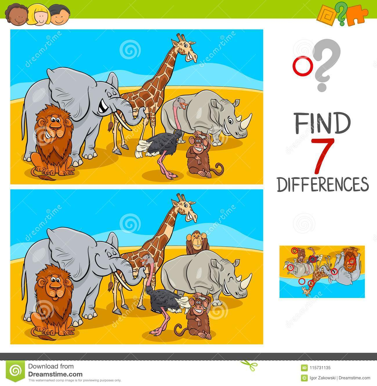 Find Differences Game With Safari Animals Stock Vector pour Jeu Des 7 Differences