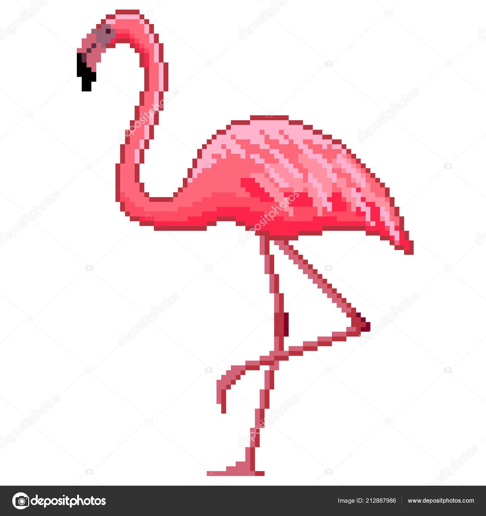 Flamingo Pixel Art   Pixel Art Pink Flamingo Detailed intérieur Pixel Art Flamant Rose