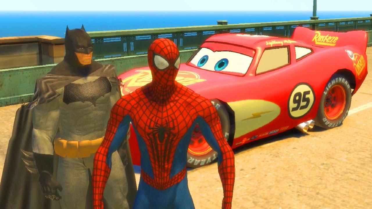 Flash Mcqueen Avec Spiderman & Batman, Flash La Voiture De Course De Disney  Cars / Gameplay Cars 2 avec Jeux De Voiture Avec Feu Rouge