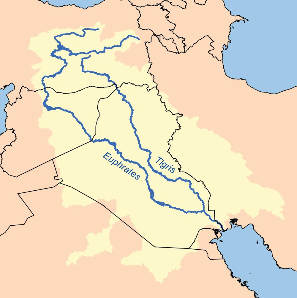 Fleuves Tigre Et Euphrate : Bassins Hydrographiques • Carte encequiconcerne Carte Des Fleuves