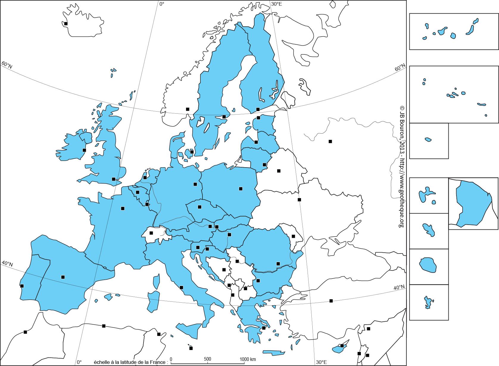 Fond De Carte De L'union Européenne À 28 - Ue28 - Eu28 Map destiné Union Européenne Carte Vierge