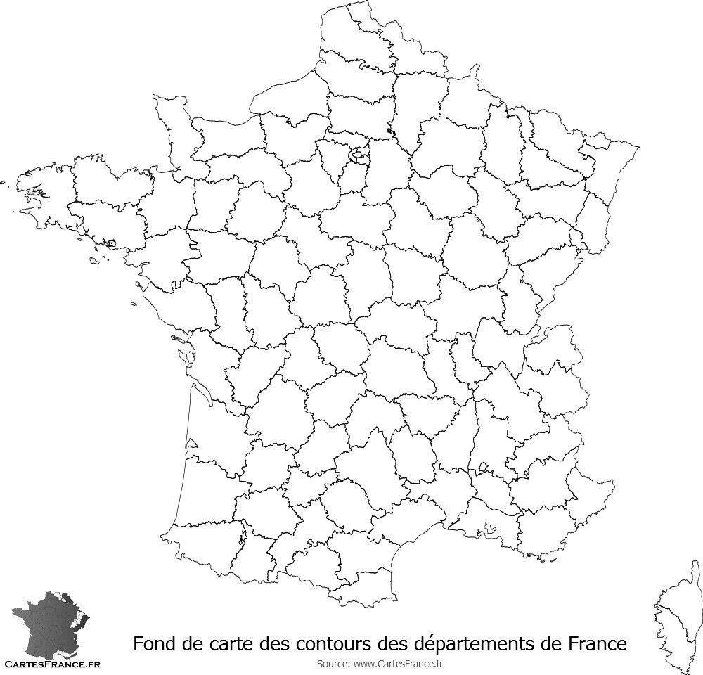 Fond De Carte Des Contours Des Départements De France   Fond pour Exercice Carte De France
