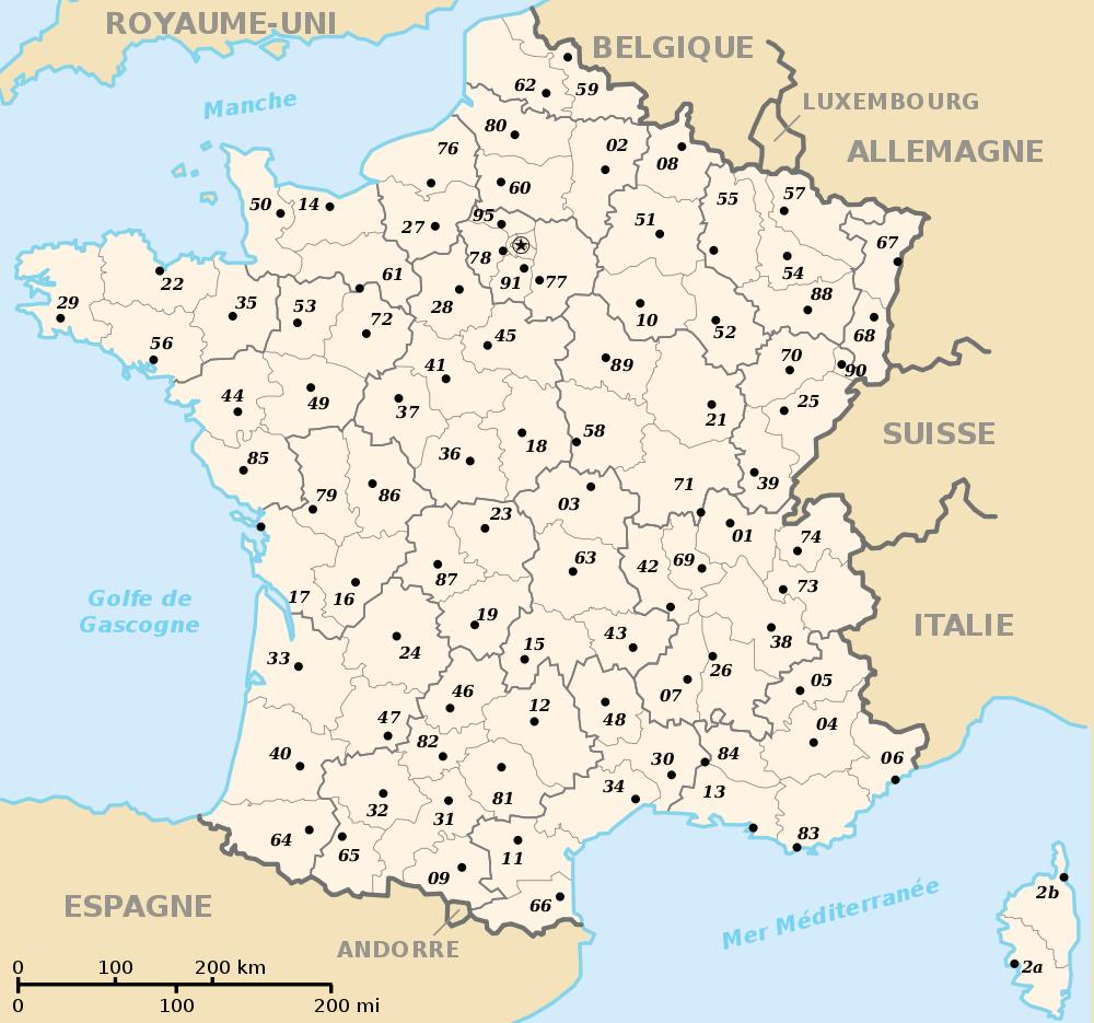 Fond De Carte Des Regions Et Départements tout Carte De France Département À Colorier
