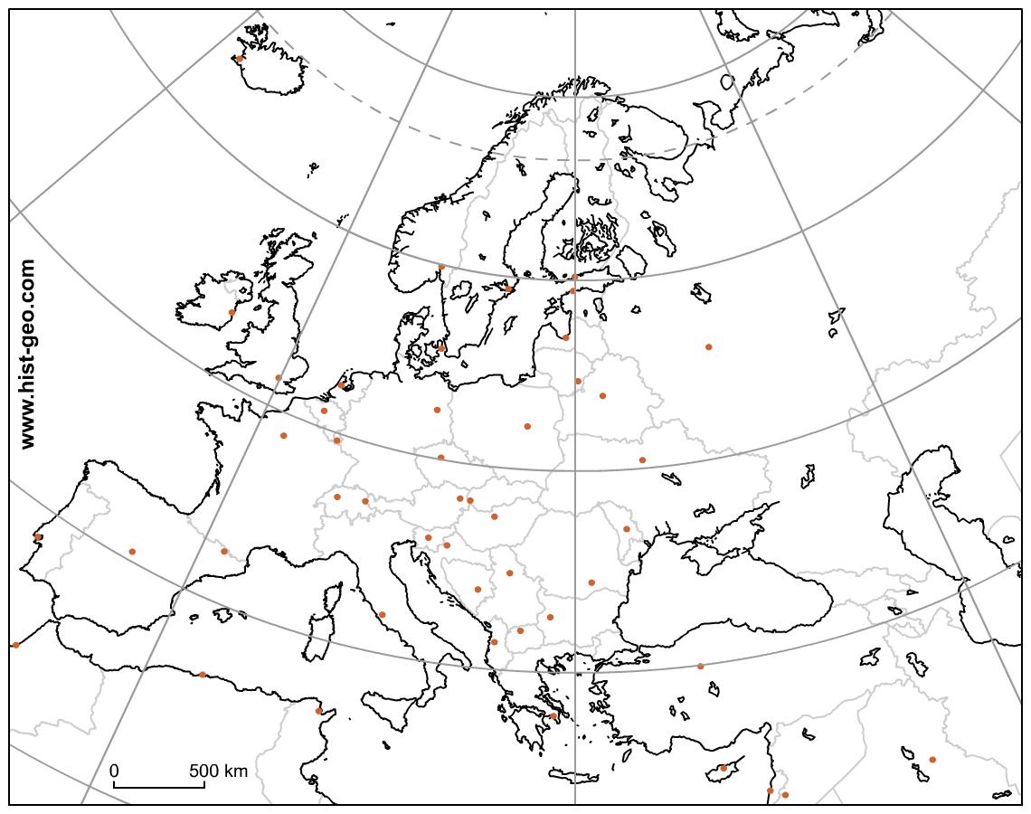 Fond De Carte Du Continent Européen (Pays, Capitales concernant Les Capitales D Europe