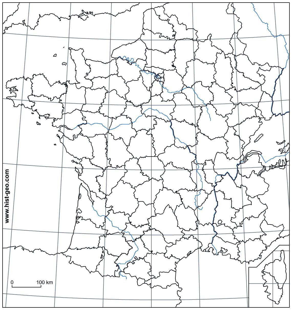 Fond De Carte - France (Frontières, Fleuves, Départements tout Fond De Carte France Fleuves