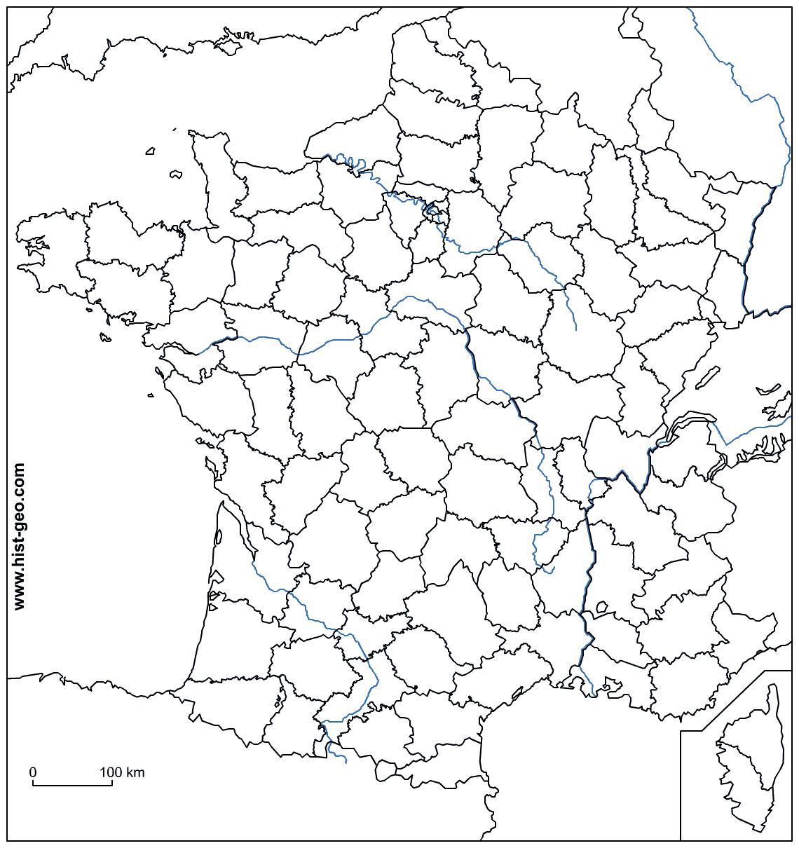 Fond De Carte - France (Frontières, Fleuves Et Départements) avec Fond De Carte France Fleuves