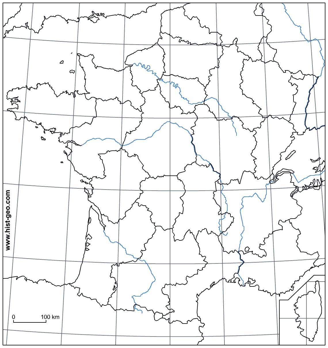 Fond De Carte - France (Frontières, Fleuves, Régions à Fond De Carte France Fleuves