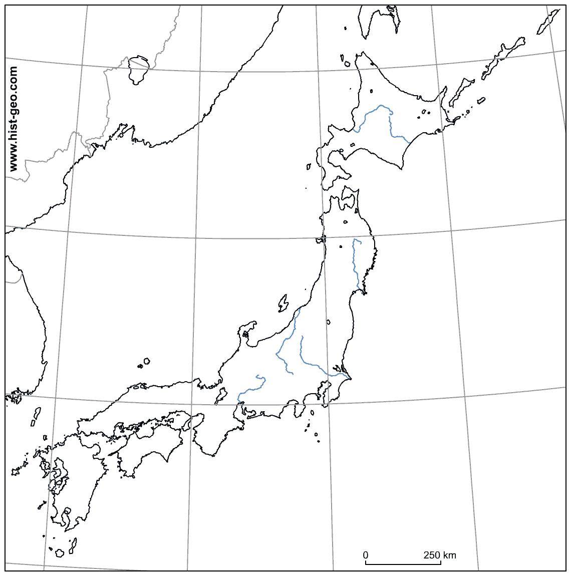 Fond De Carte Sur Le Japon (Fleuves, Parallèles, Méridiens) pour Carte Des Fleuves