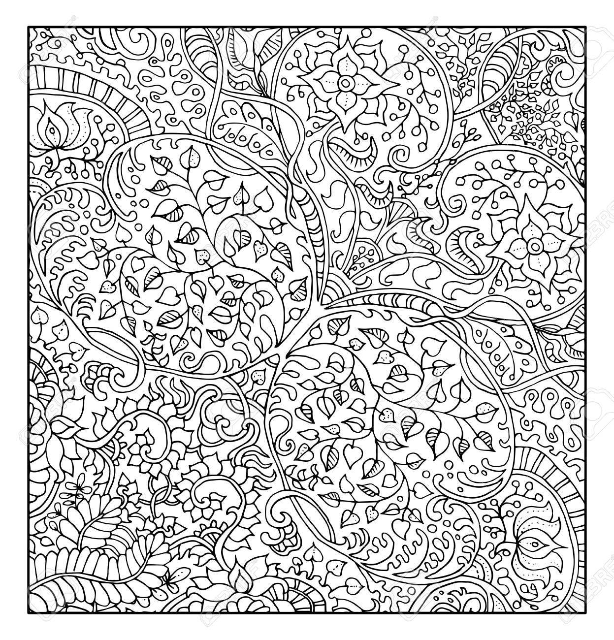 Fond Graphique Fantastique Avec Motif Floral Pour Livre De Coloriage  Adulte. Vector Ornement Cru Éléments. Résumé Tiré Par La Main Doodle  Illustration à Coloriage Graphique