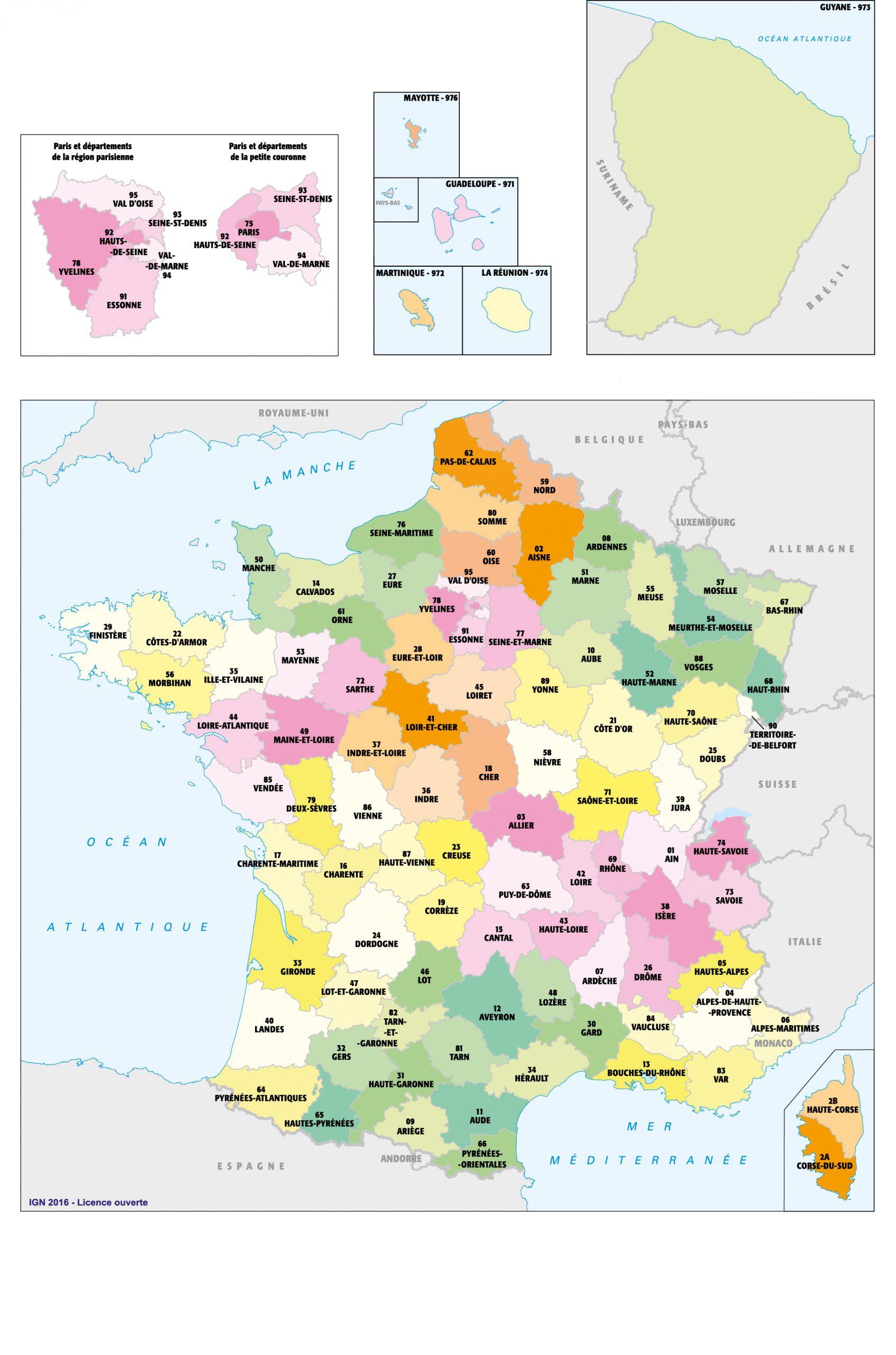 Fonds De Cartes   Éducation à Carte De France Avec Villes Et Départements