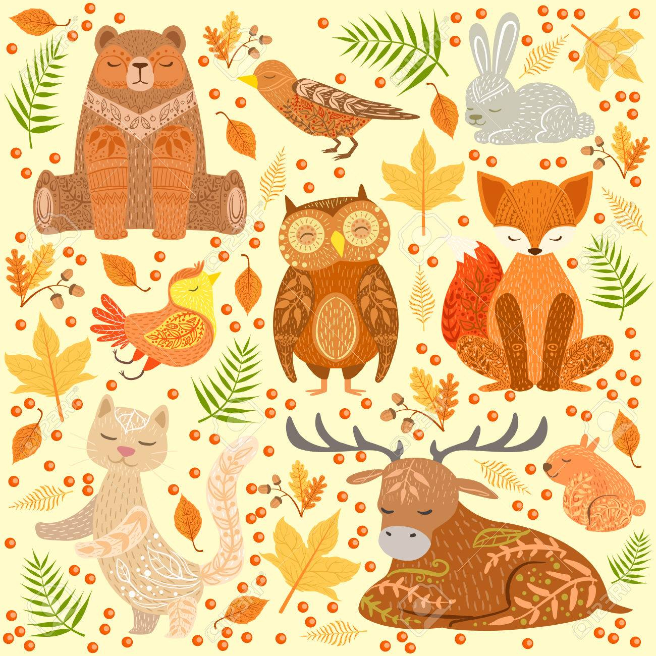 Forest Animals Covered In Ornamental Patterns Illustration. Hand Drawn  Print In Bright Colors With Artistic Details On Background With Autumn Eaves avec Image D Animaux A Imprimer En Couleur