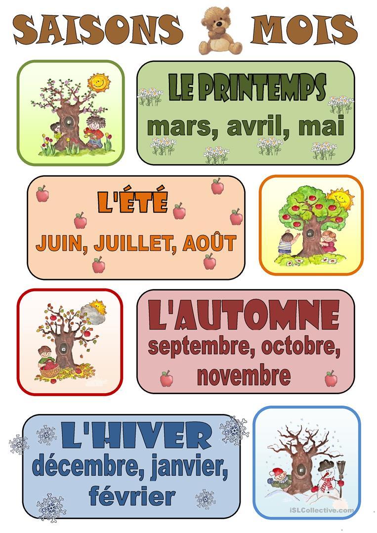 Français Fle Saisons Fiches Pédagogiques - La Plus avec Apprendre Les Saisons En Maternelle