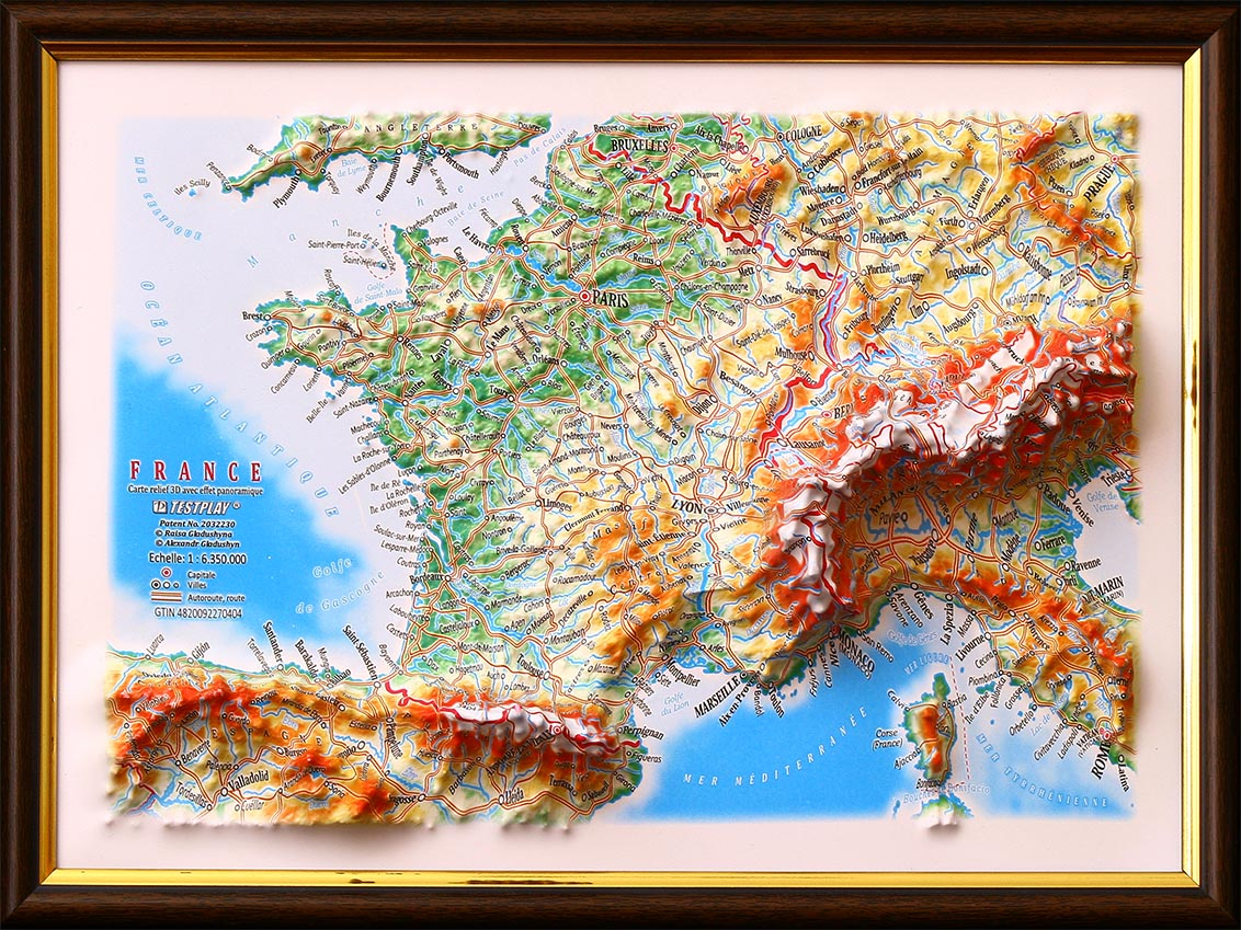 France 3D Gift Map - Unique Gift For Everyone destiné Carte De L Europe En Relief