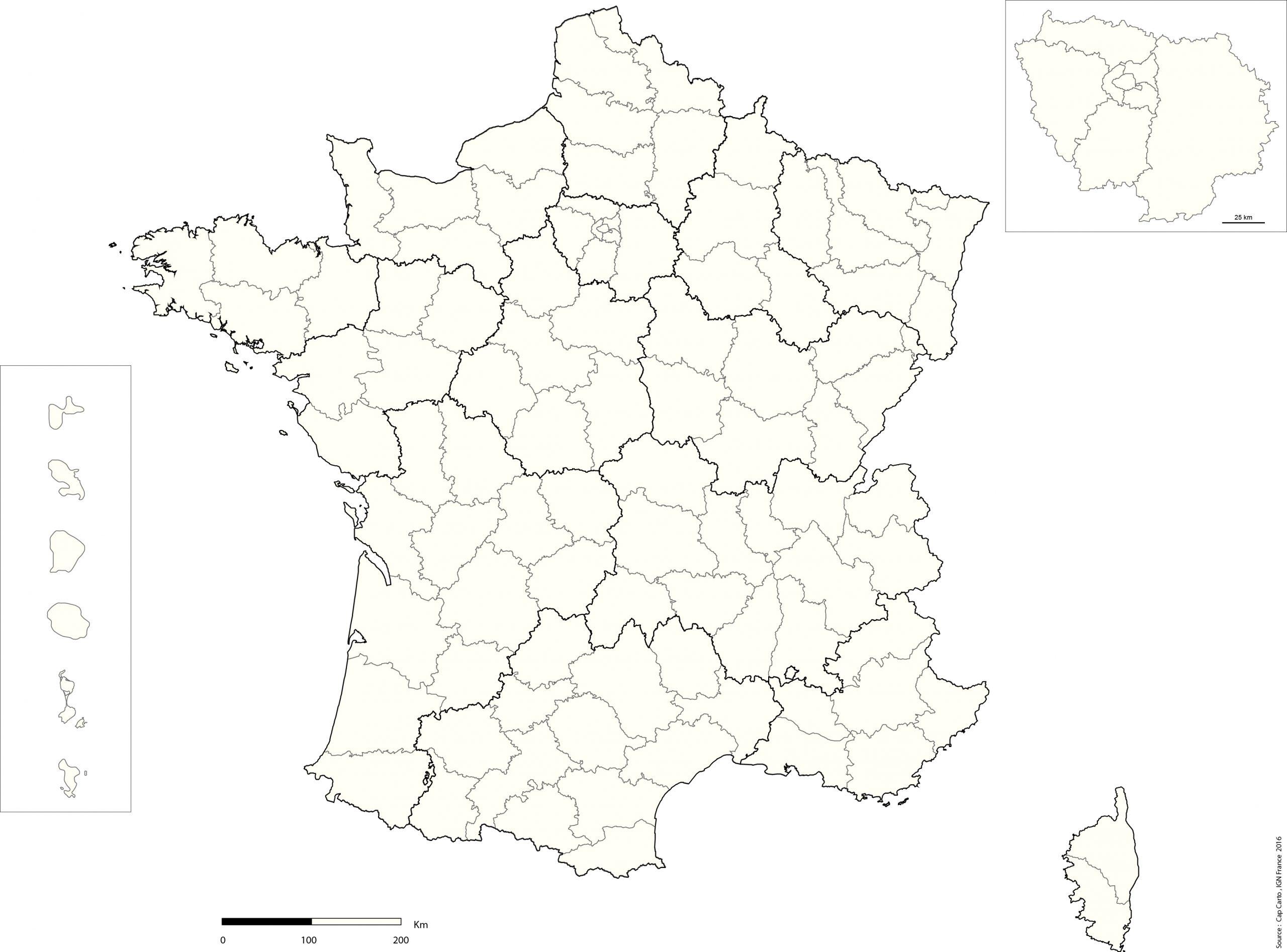 France-Departement-Echelle-Reg-Vierge - Cap Carto concernant Carte De France Par Régions Et Départements