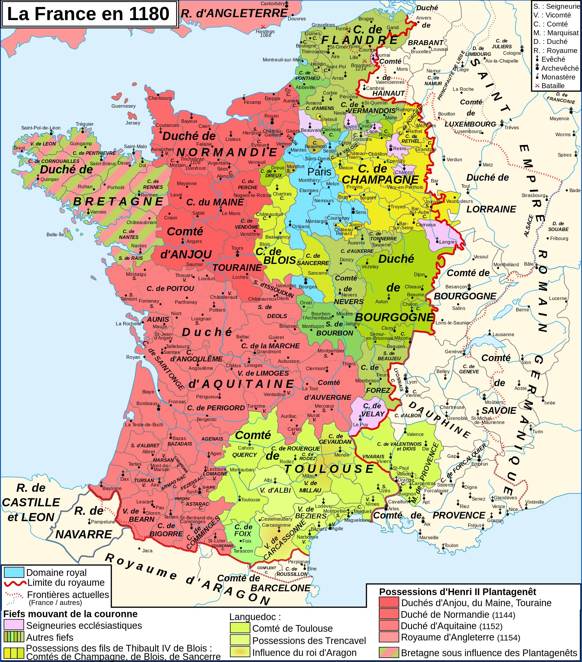 France In 1180   Storia Medievale, Storia Europea, Cartografia avec Carte Anciennes Provinces Françaises