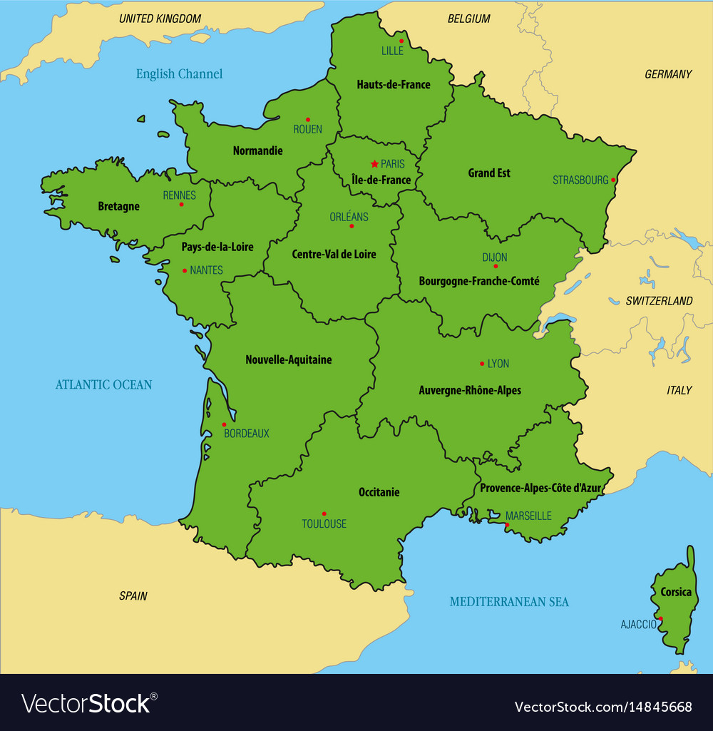 France Map With Regions And Their Capitals avec Map De France Regions