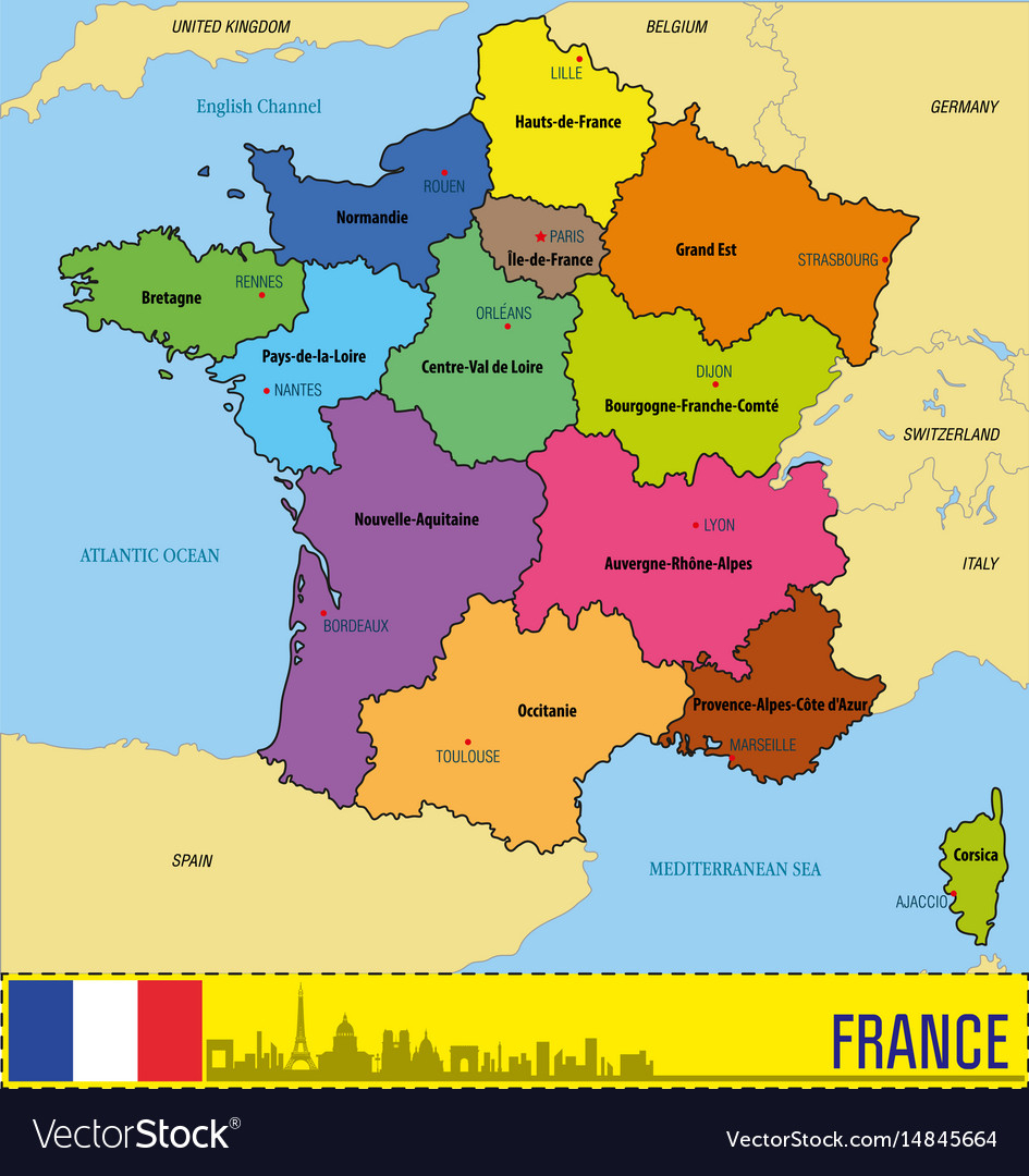 France Map With Regions And Their Capitals dedans Map De France Regions