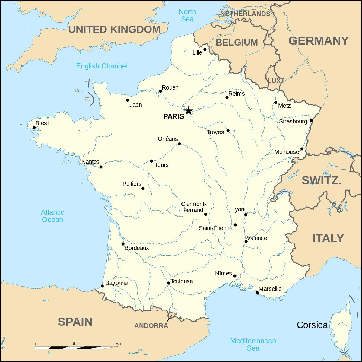 France Métropolitaine — Wikipédia à Carte De France Avec Grandes Villes