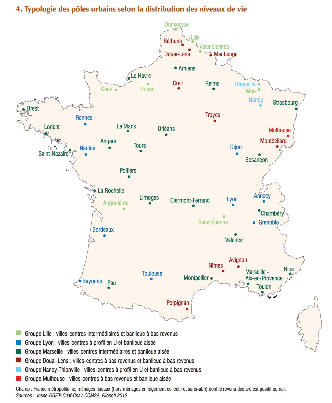 France - Niveau De Vie Des Grandes Villes (2012) • Map tout Carte France Principales Villes
