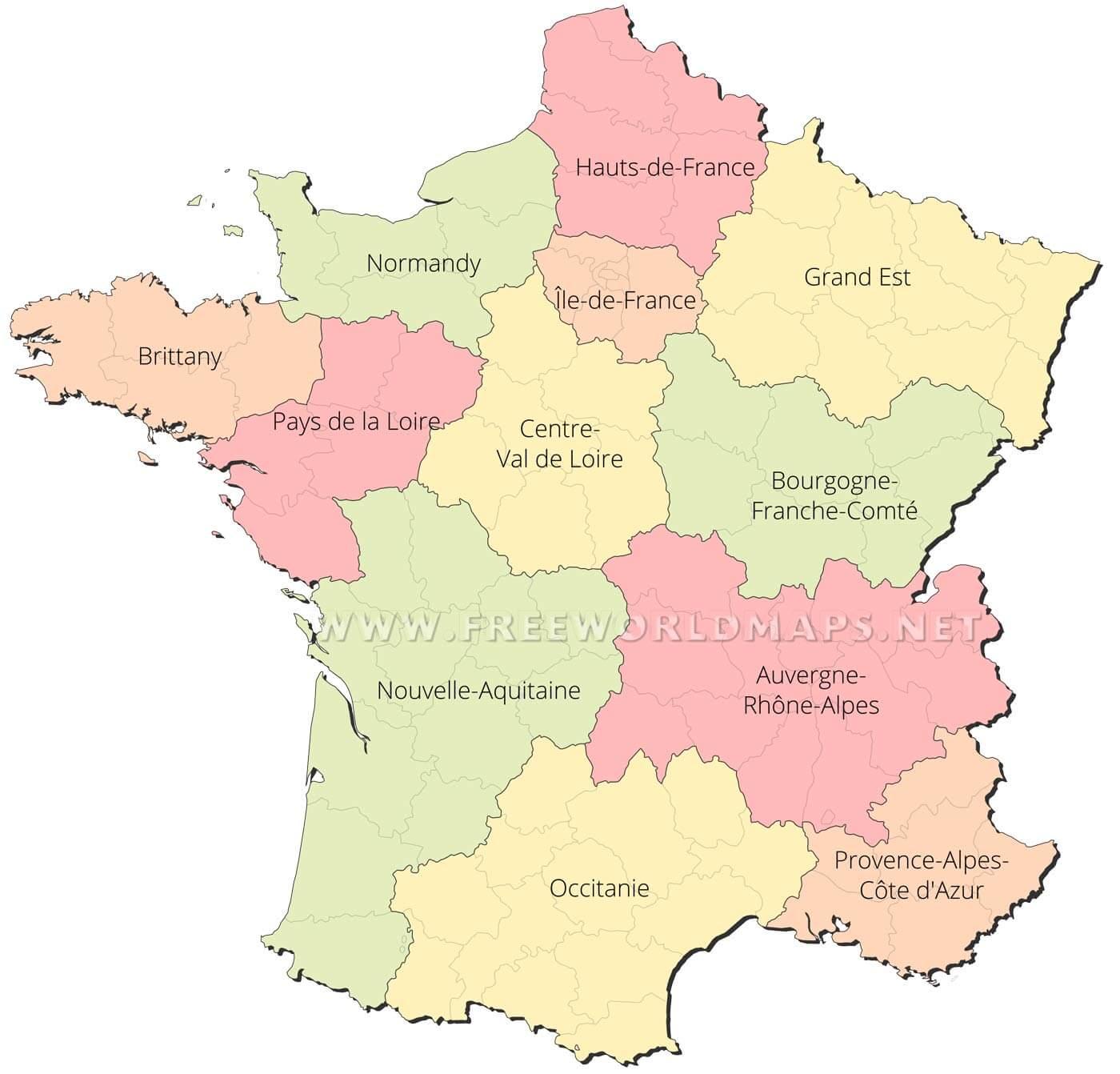 France Political Map tout Map De France Regions