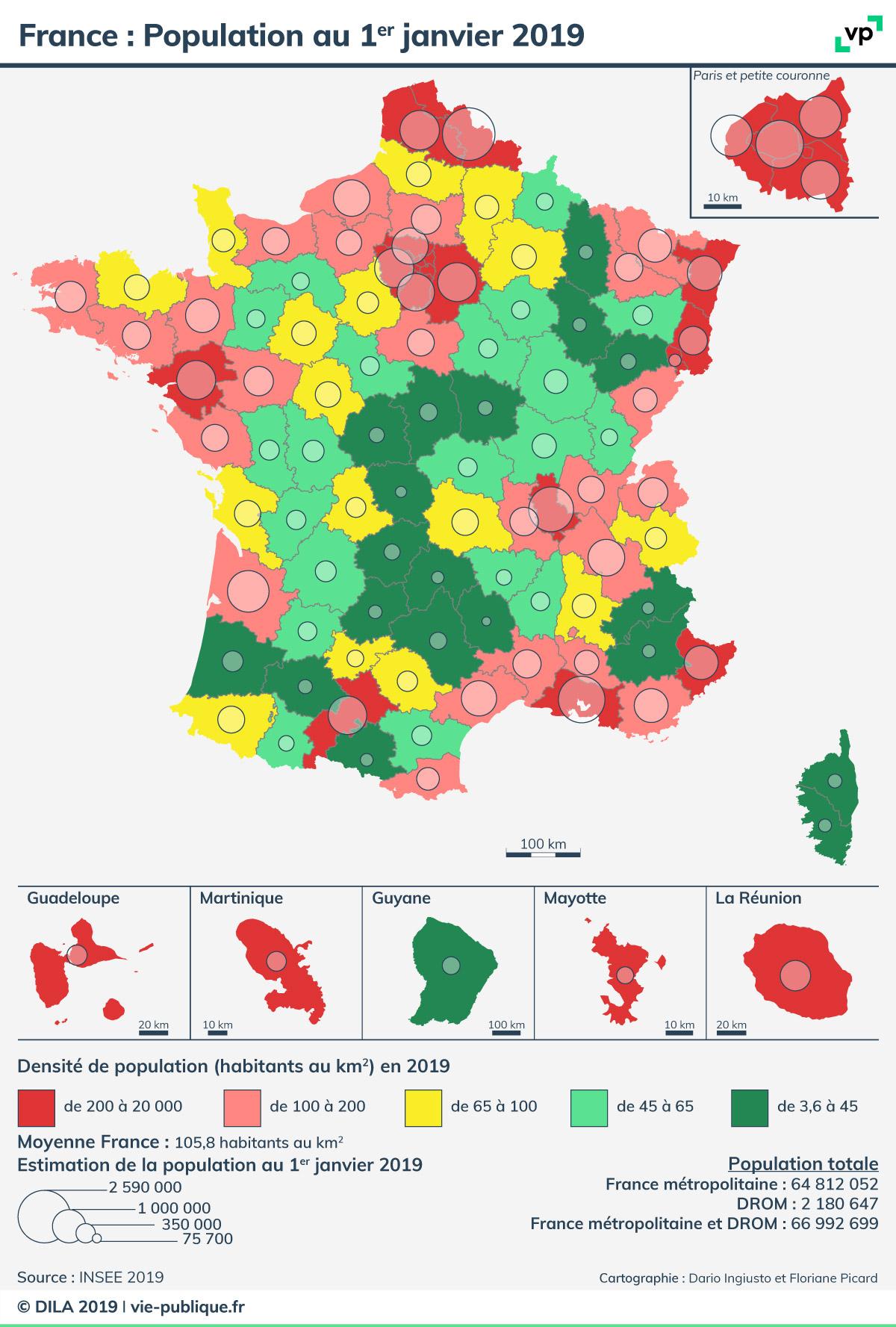 France : Population Au 1Er Janvier 2019 | Vie Publique.fr serapportantà Voir La Carte De France