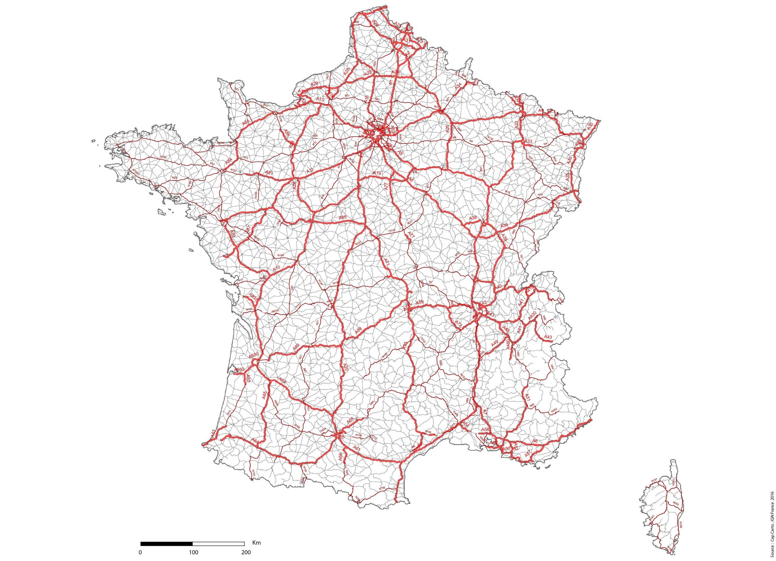 France-Reseaux-Routier-Noms-Lambert93-Echelle - Cap Carto intérieur Carte Routiere France Gratuite