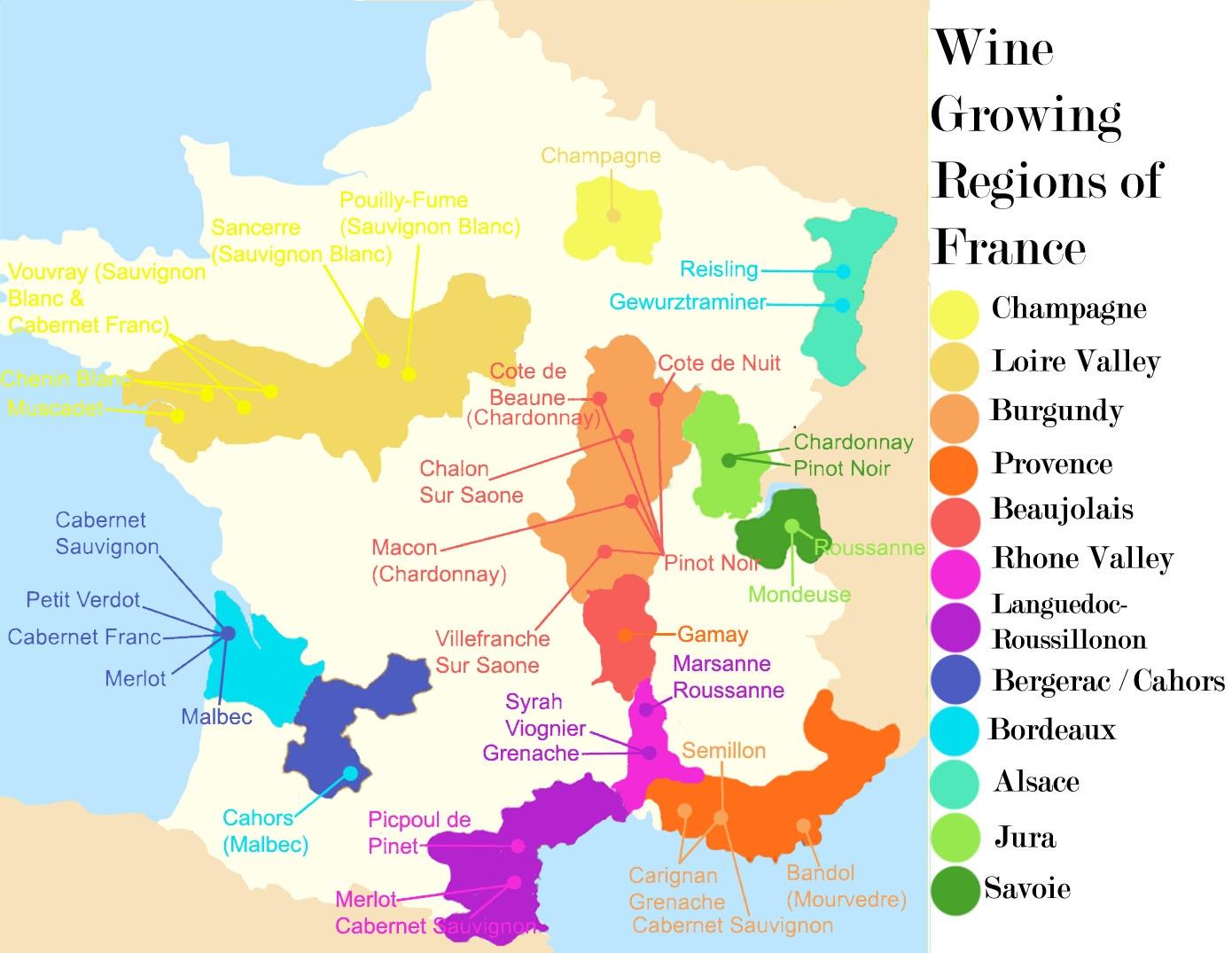 France Wine Regions Map encequiconcerne Map De France Regions