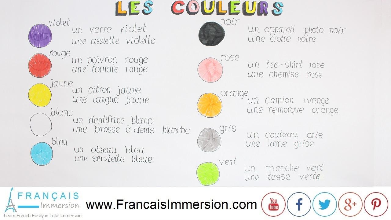 French Colors (Colours) - Les Couleurs En Français intérieur Apprendre Les Couleur En Francais