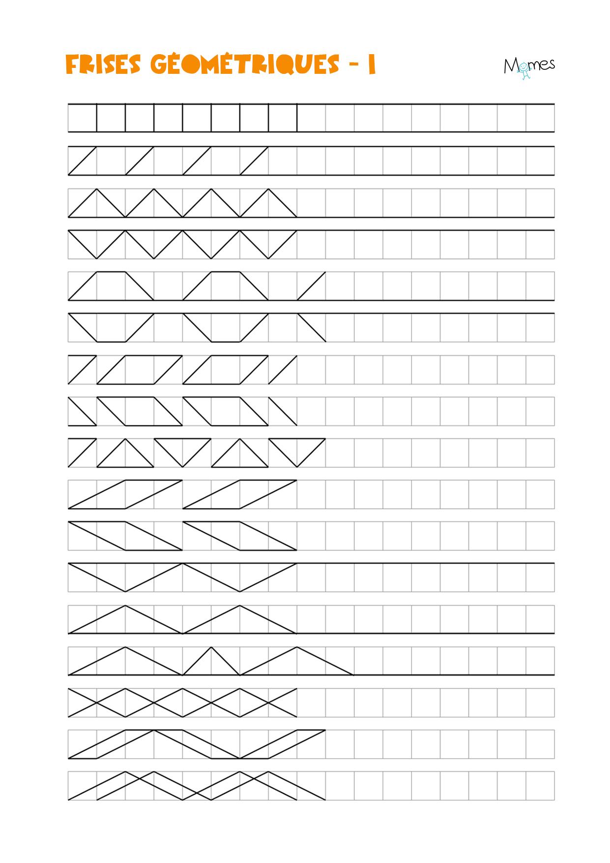 Frises Géométriques - Momes à Reproduction Sur Quadrillage Cm1 A Imprimer