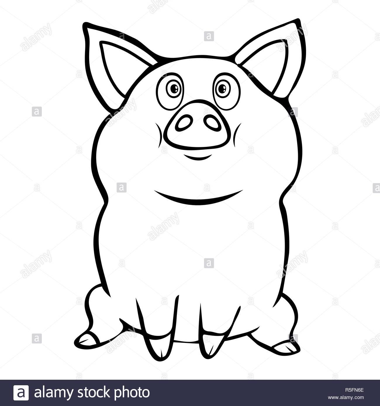 Funny Cute Linéaire Cochon Dessin À La Main, Personnage serapportantà Dessin De Cochon En Couleur