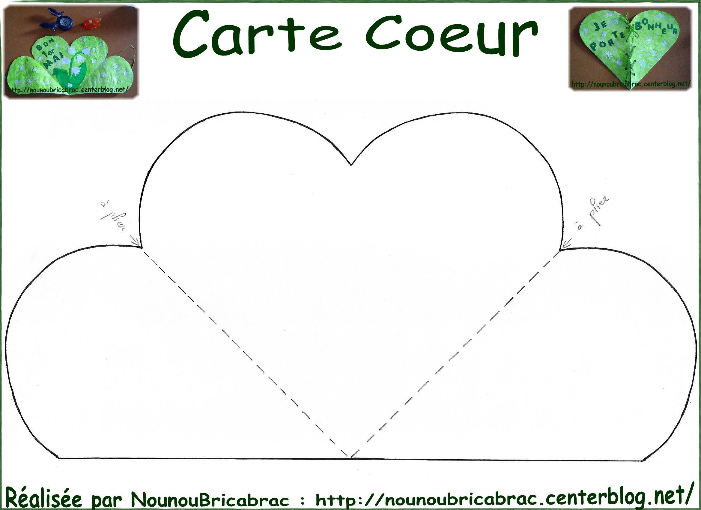 Gabarit De La Carte Coeur À Décorer Et Découper | Carte intérieur Coeur A Imprimer Et Decouper