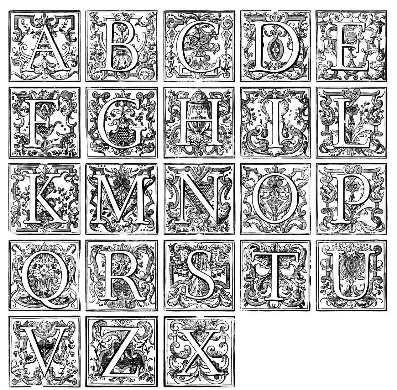 Galerie De Coloriages Gratuits Coloriage-Alphabet-Vintage dedans Coloriage Alphabet Complet A Imprimer