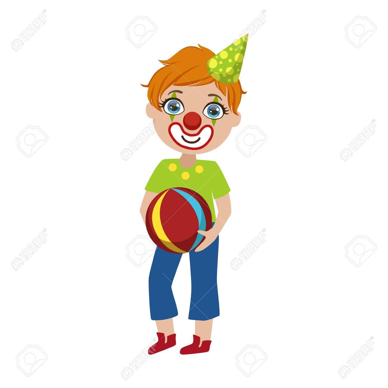 Garçon Dans Le Clown Maquillage Couleur Vive Dessin Animé Style Enfantin  Plane Vector Isolement Sur Fond Blanc pour Dessin De Clown En Couleur