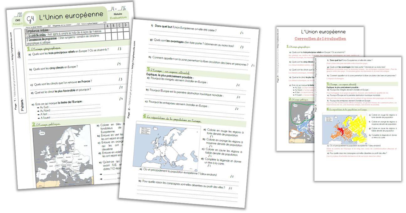 Géographie Cm2 - Séquence Complète : L'union Européenne serapportantà Carte Europe Vierge Cm1