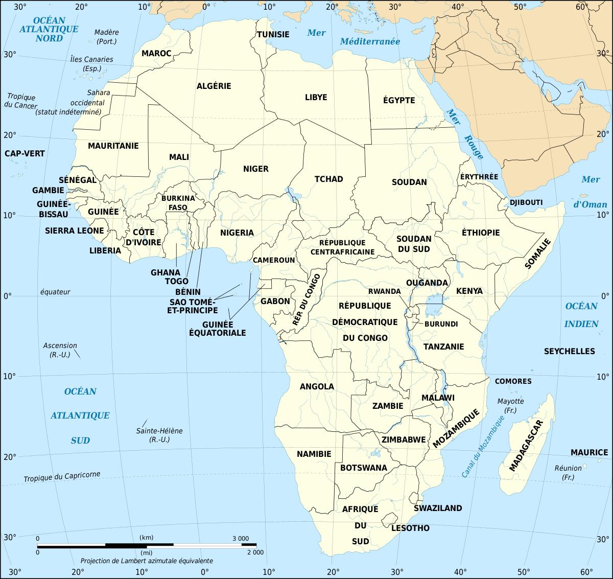 Géographie De L'afrique — Wikipédia tout La Carte De France Et Ses Régions