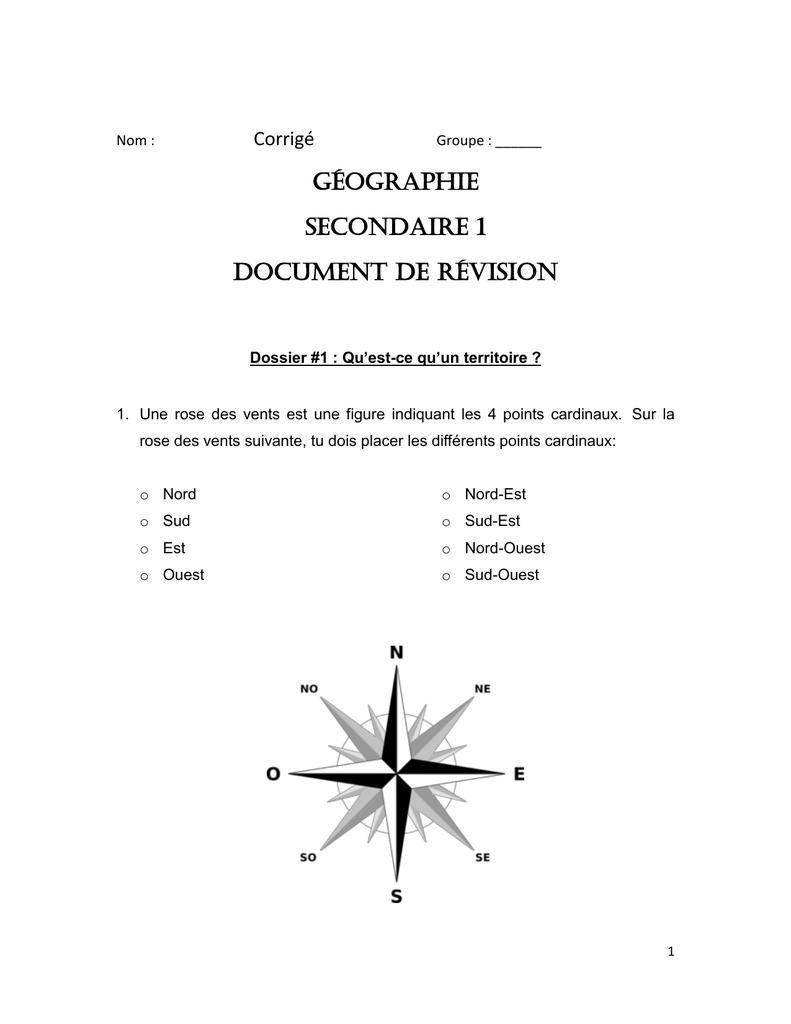 Géographie Secondaire 1 Document De Révision serapportantà Les 4 Point Cardinaux