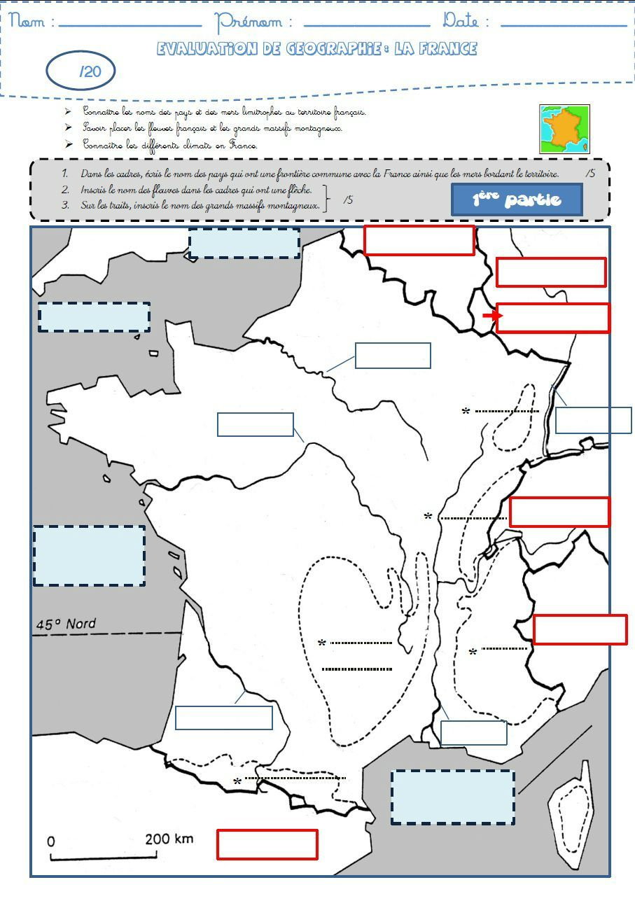 Géographie : Une Évaluation Sur La France (Frontières serapportantà Carte De France Ce1