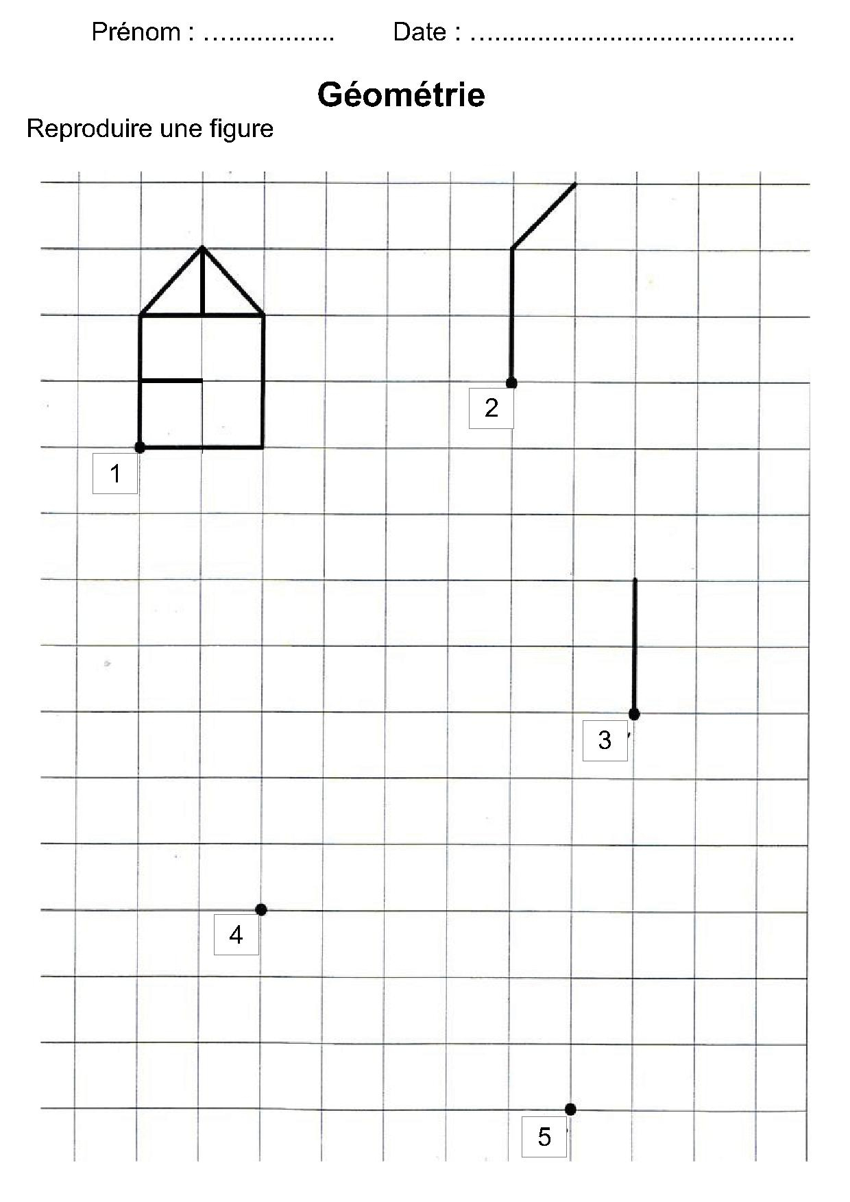 Géométrie Ce1,ce2,la Symétrie,reproduire Une Figure à Dessin Géométrique Ce2