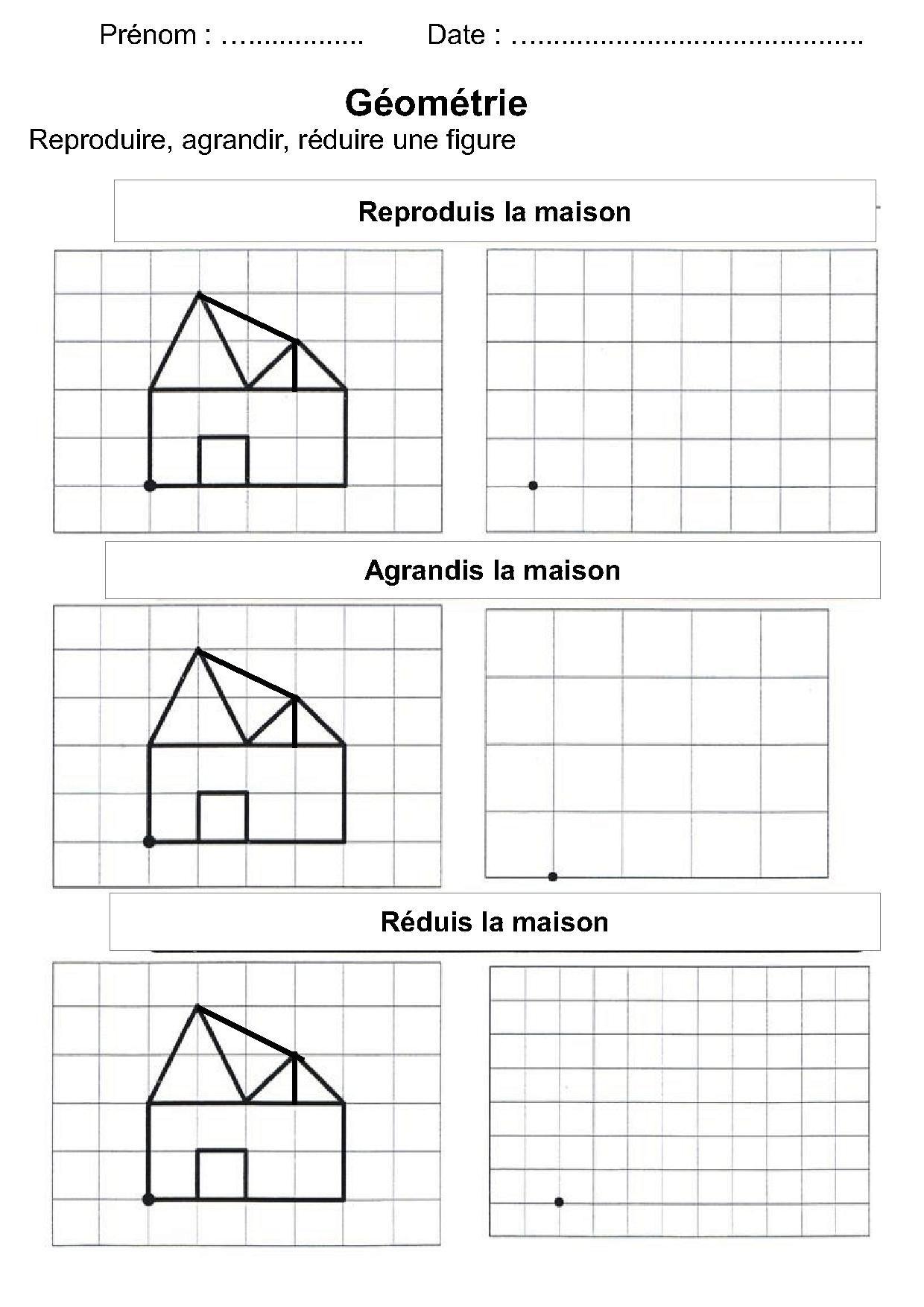 Géométrie Ce1,ce2,la Symétrie,reproduire Une Figure à Reproduction Sur Quadrillage Cm1 A Imprimer