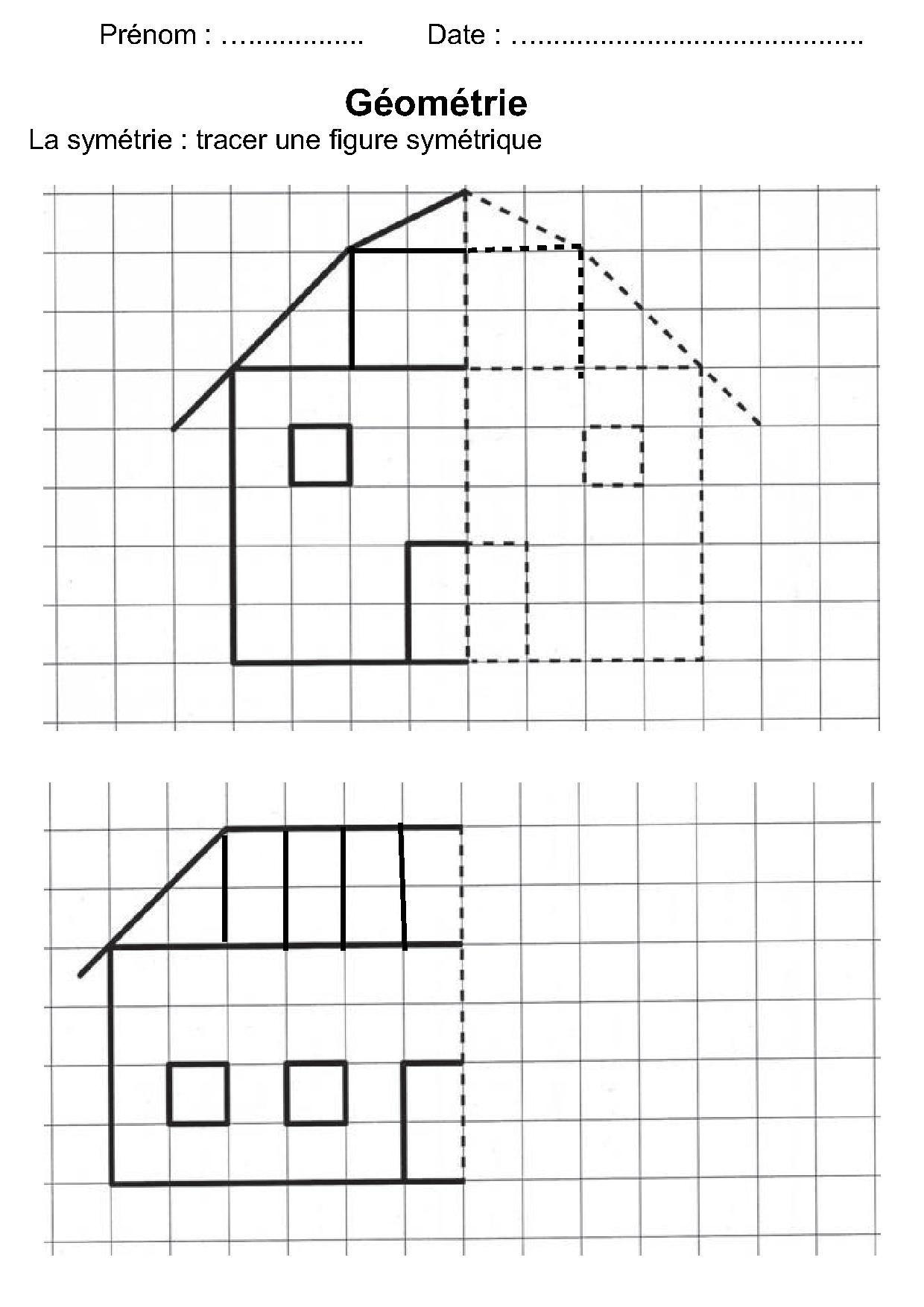 Géométrie Ce1,ce2,la Symétrie,reproduire Une Figure pour Reproduction Sur Quadrillage Cm1 A Imprimer