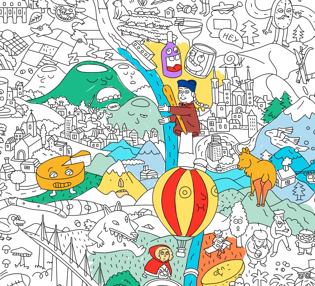 Giant Coloring Poster France encequiconcerne Carte De France Dom Tom