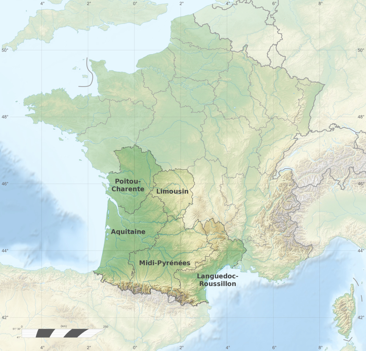 Grand Sud-Ouest Français — Wikipédia avec Carte Du Sud Est De La France Détaillée