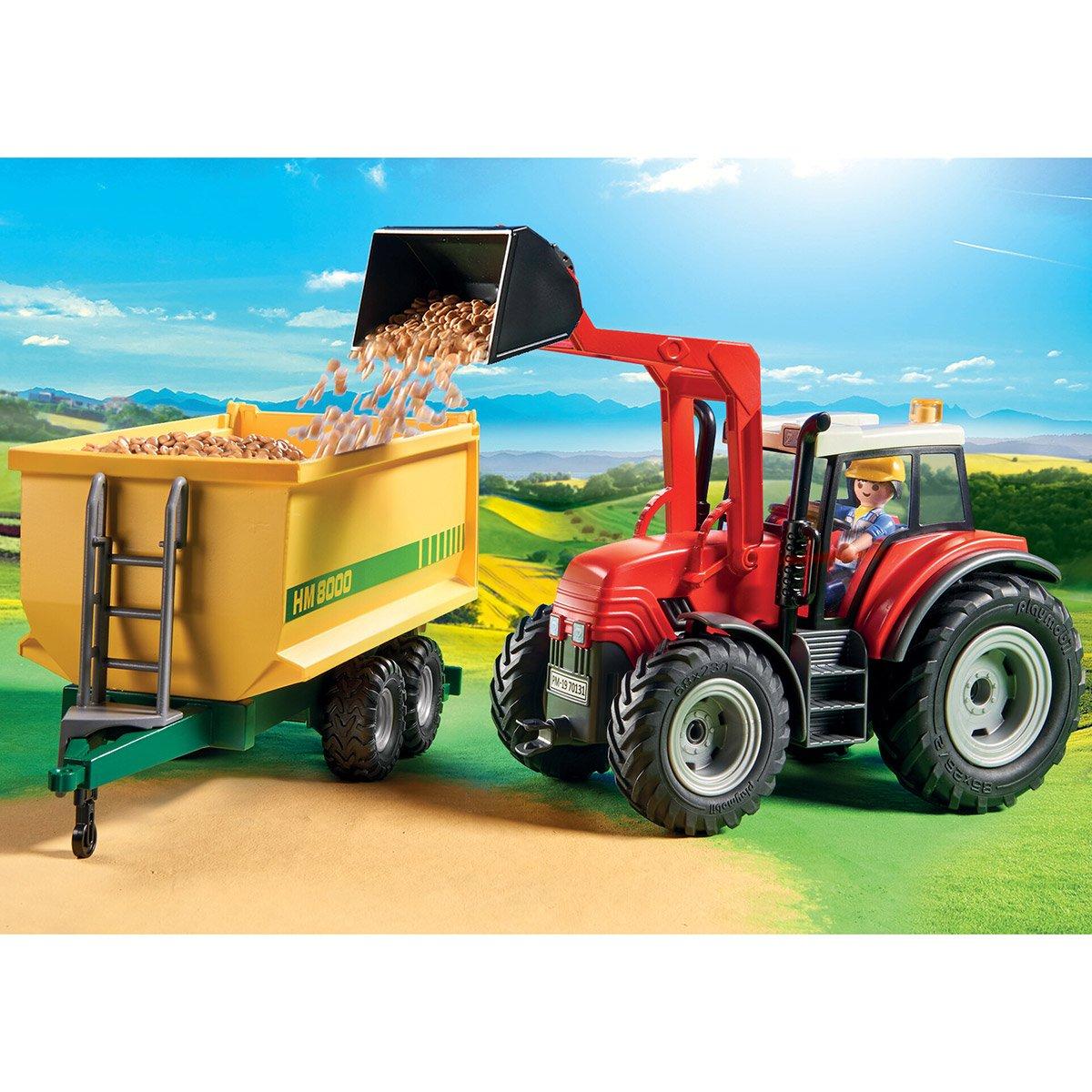 Grand Tracteur Avec Remorque Playmobil Country 70131 à Jeux Gratuit Tracteur A La Ferme