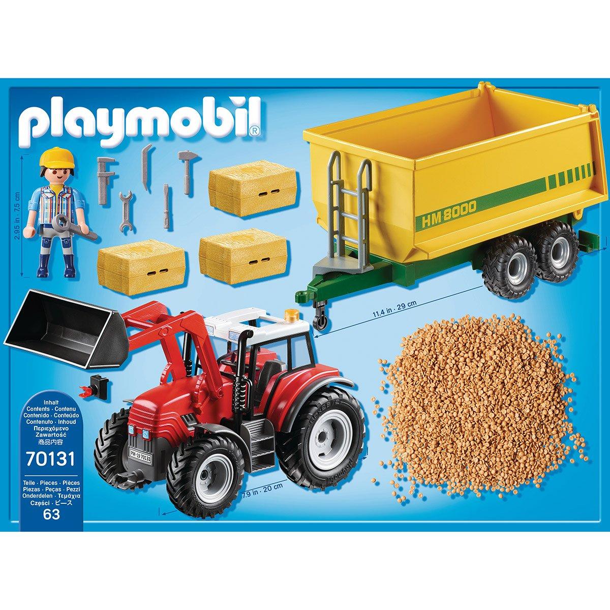 Grand Tracteur Avec Remorque Playmobil Country 70131 dedans Jeux Gratuit Tracteur A La Ferme