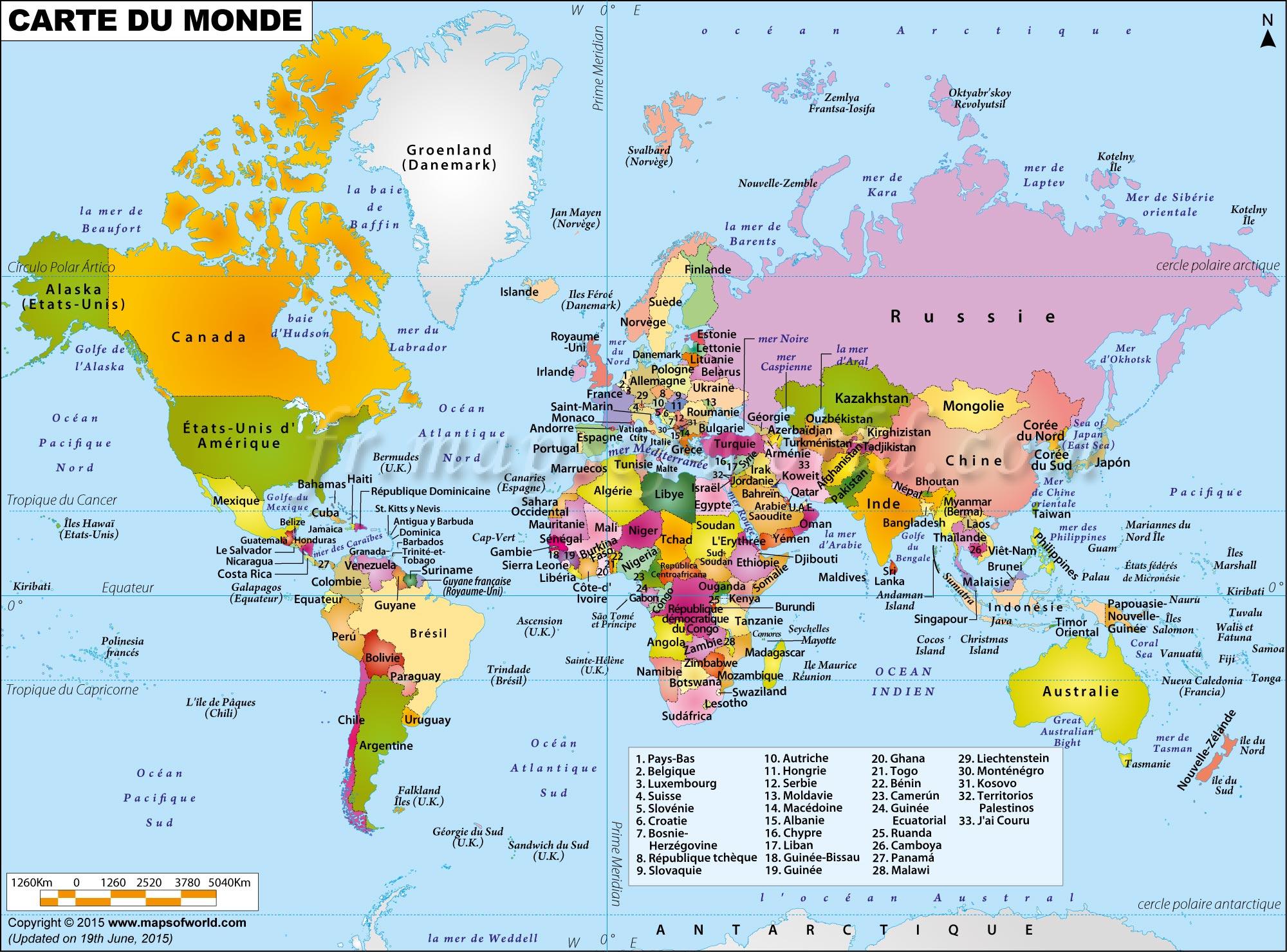 Grande Carte Du Monde dedans Carte Du Monde Avec Capitales Et Pays