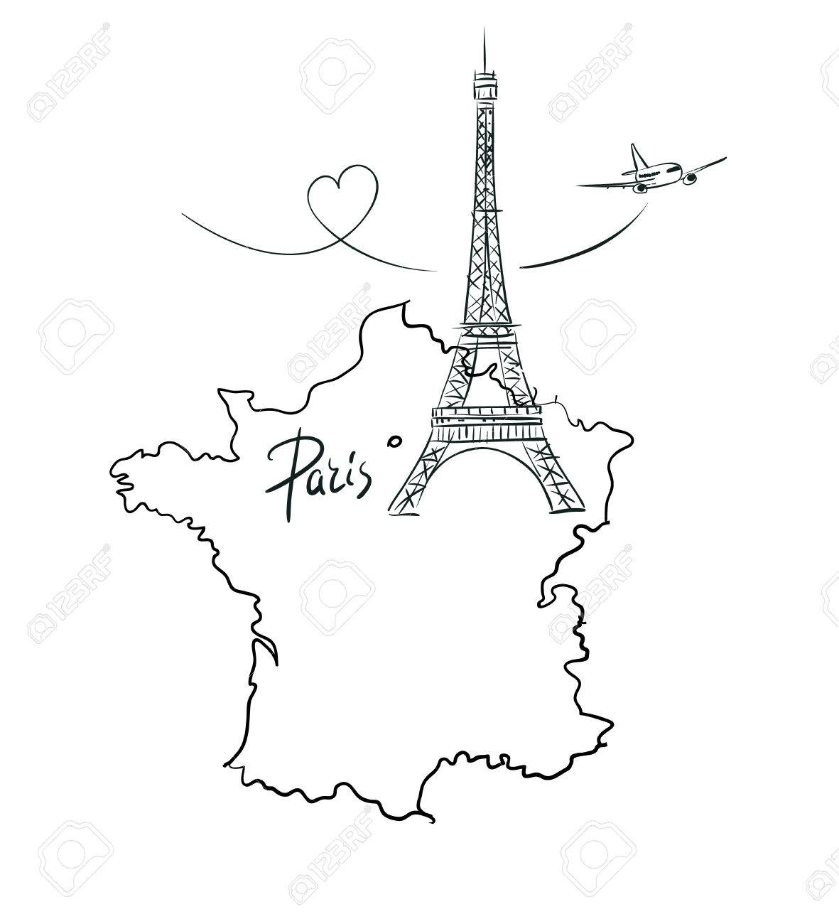 Hand Drawn Illustration With Eiffel Tower And Map Of France tout Dessin De Carte De France