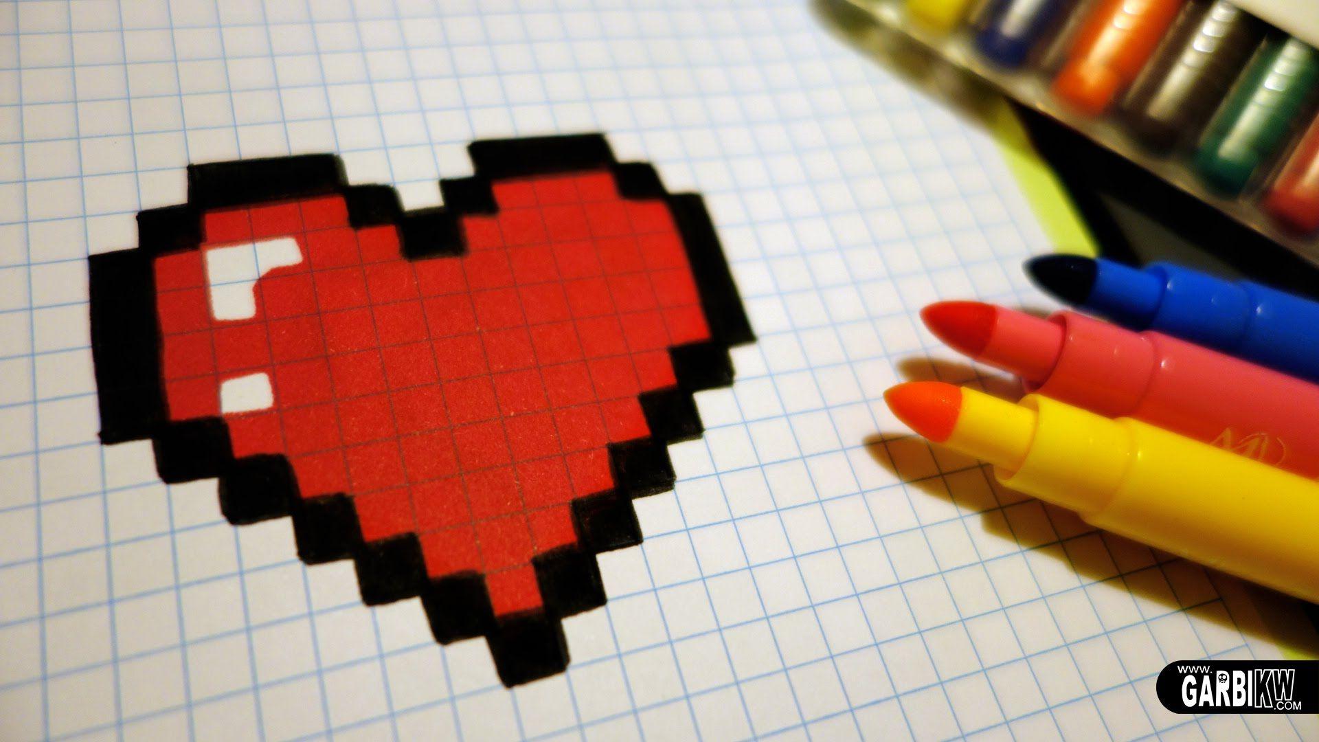 Handmade Pixel Art - How To Draw A Kawaii Heart #pixelart à Pixel Art Facile Fille