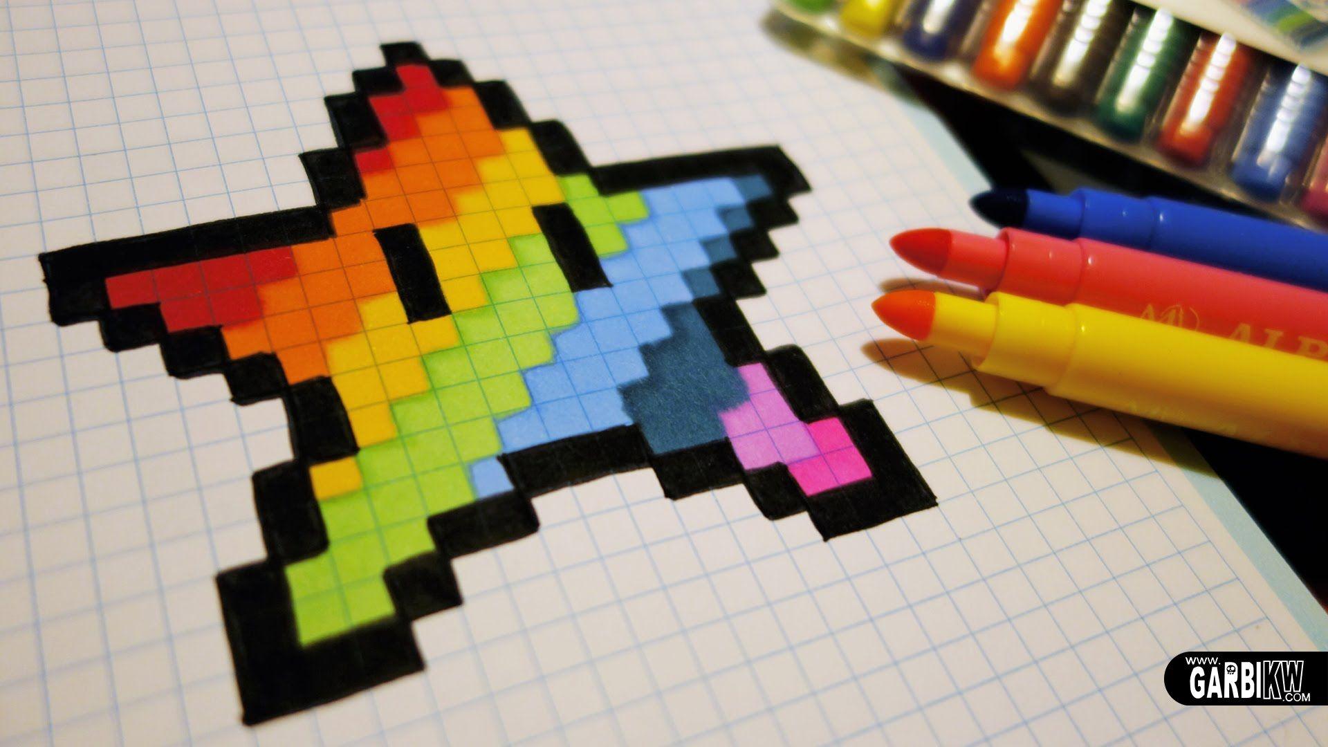 Handmade Pixel Art - How To Draw A Kawaii Rainbow Star dedans Pixel Art Facile Fille