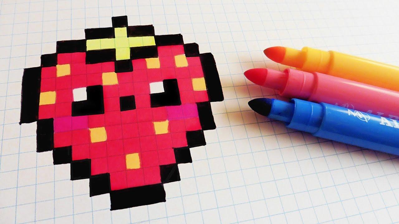 Handmade Pixel Art - How To Draw Kawaii Strawberry #pixelart tout Pixel Art Fraise
