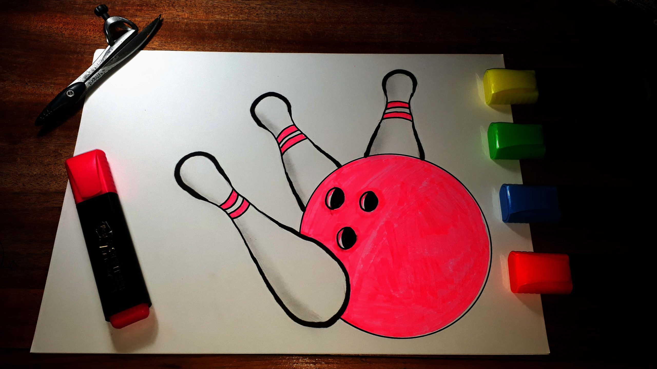How To Draw A Bowling Ball And Pins Colouring | Easy For concernant Bowling Pour Enfant